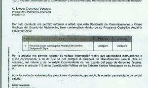 SE RECONSTRUIRA CARPETA ASFALTICA CAMINO ZINAPARO-EL TIGRE