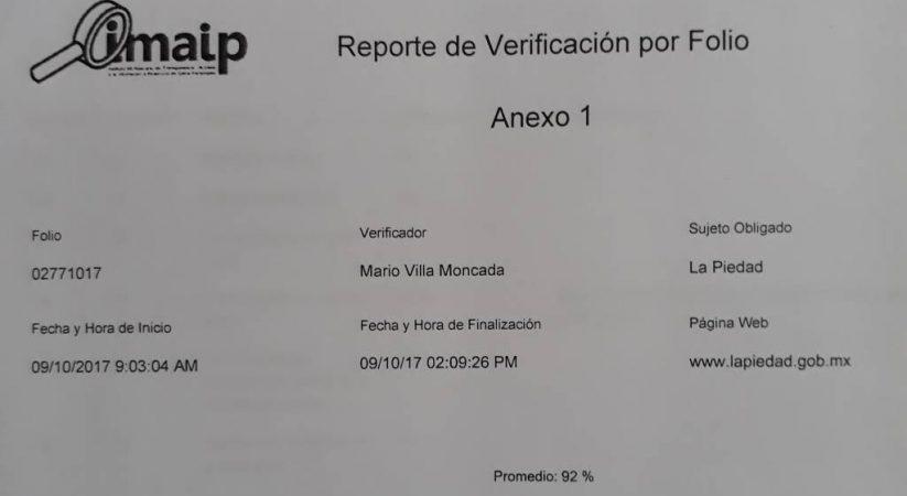INSTITUTO DE TRANSPARENCIA AVALA INFORMACIÓN PÚBLICA DEL MUNICIPIO DE LA PIEDAD